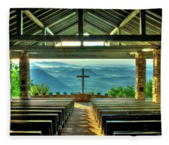 Pretty Place Chapel The Son Has Risen Blue Ridge Mountain Art Fleece Blanket
