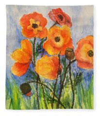 Pretty Poppies Fleece Blanket