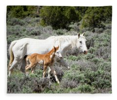 Pretty White Mustang Mare With Her New Foal - Sand  Wash Basin Fleece Blanket