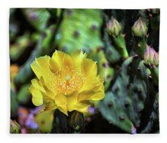 Prickly Pear Cactus Flower On Assateague Island Fleece Blanket