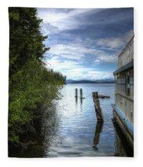 Priest Lake Houseboat 7001 Fleece Blanket