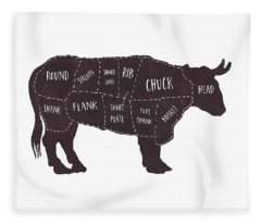 Fleece Blanket featuring the photograph Primitive Butcher Shop Beef Cuts Chart T-shirt by Edward Fielding