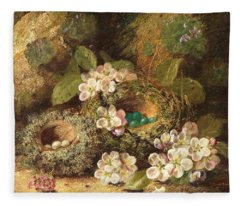 Primroses And Bird's Nests On A Mossy Bank Fleece Blanket