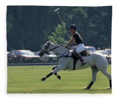 Prince Charles Playing Polo At Windsor Fleece Blanket