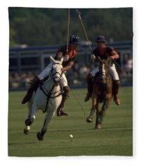 Prince Charles Playing Polo Fleece Blanket