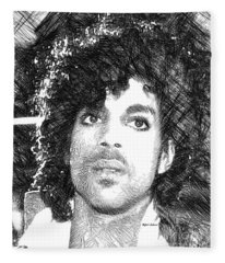 Fleece Blanket featuring the digital art Prince - Tribute Sketch In Black And White 3 by Rafael Salazar