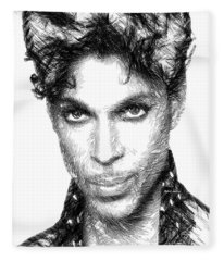 Fleece Blanket featuring the digital art Prince - Tribute Sketch In Black And White by Rafael Salazar