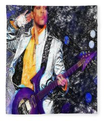 Fleece Blanket featuring the digital art Prince - Tribute With Guitar by Rafael Salazar
