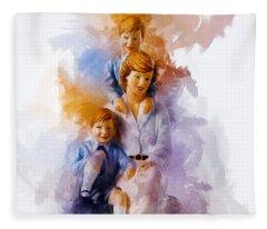 Princess Diana And Children Fleece Blanket