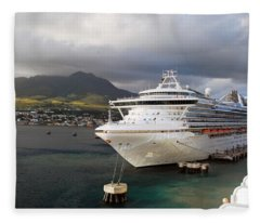 Princess Emerald Docked At Barbados Fleece Blanket