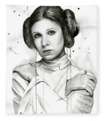 Princess Leia Portrait Carrie Fisher Art Fleece Blanket