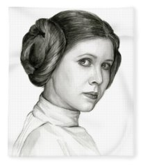 Princess Leia Watercolor Portrait Fleece Blanket
