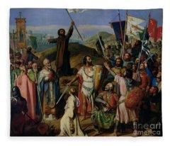 Procession Of Crusaders Around Jerusalem Fleece Blanket
