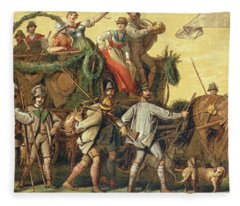 Procession Of Homage In Honour Of Emperor Franz Joseph I Of Austria Fleece Blanket