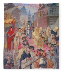 Procession Of The Reliquary Chest Of St Genevieve Fleece Blanket