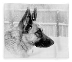 Profile Of A German Shepherd Fleece Blanket