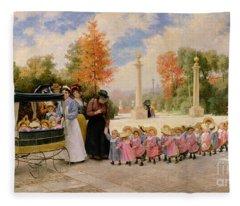 Promenade Des Enfants  Fleece Blanket