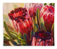 Pink Mink Protea - Tropical Flowers - Botanical Floral Painting - Hawaii Art - Protea Neriifolia Fleece Blanket