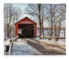 Protected Crossing In Winter Fleece Blanket