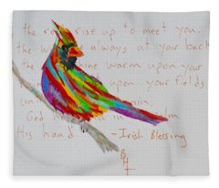 Proud Cardinal With Blessing Fleece Blanket
