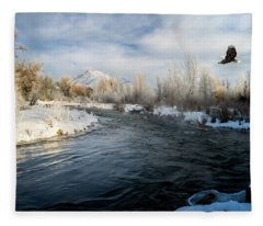 Provo River In Winter Fleece Blanket