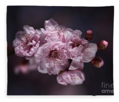 Prunus A Pink Spring Fleece Blanket