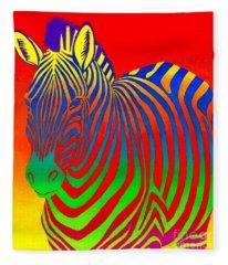 Psychedelic Rainbow Zebra Fleece Blanket