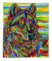 Psychedelic Wolf Fleece Blanket