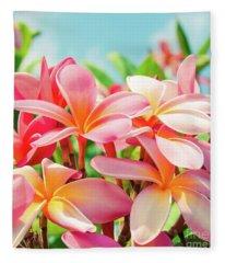 Pua Melia Ke Aloha Maui Fleece Blanket