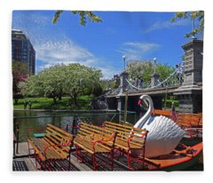 Public Garden Swan Boat In The Spring Boston Ma Fleece Blanket