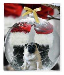 Pug And Santa Fleece Blanket