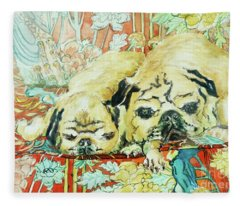 Pugs On A Chinese Print Sofa Fleece Blanket