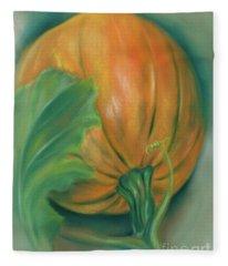 Pumpkin And Leaf Fleece Blanket
