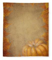 Pumpkin And Maple Leaves Fleece Blanket
