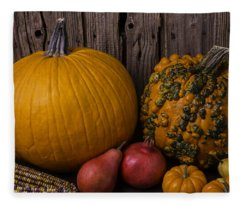 Pumpkin Autumn Still Life Fleece Blanket