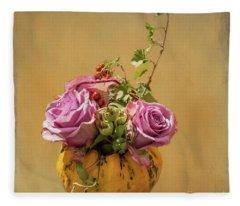 Pumpkin Floral Arrangement Fleece Blanket