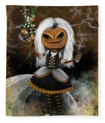 Pumpkin Spice Latte Monster Fantasy Art Fleece Blanket