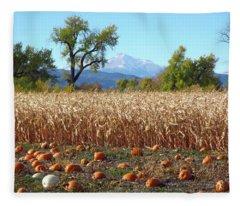 Pumpkins Corn And Longs Peak Fleece Blanket