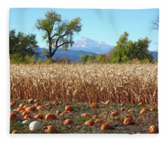 Pumpkins Corn And Longs Peak Fleece Blanket