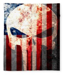 Punisher Themed Skull And American Flag On Distressed Metal Sheet Fleece Blanket