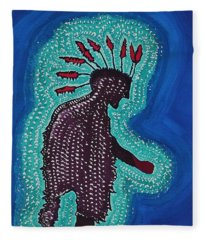 Punk Shaman Original Painting Fleece Blanket