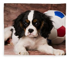 Puppy With Ball Fleece Blanket