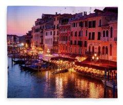 Cityscape From The Rialto In Venice, Italy Fleece Blanket