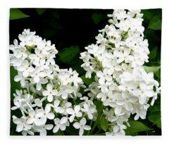 Pure White Lilacs Fleece Blanket