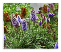 Purple And Brown Echium Fleece Blanket