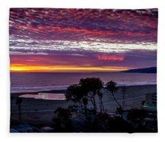 Purple And Gold Sunset Fleece Blanket