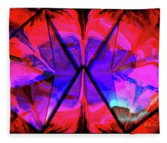 Purple And Red In Tri-sides Fleece Blanket