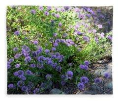 Purple Bachelor Button Flower Fleece Blanket