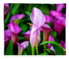 Purple Calla Lilies Fleece Blanket