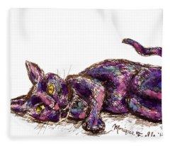 Purple Cat Fleece Blanket